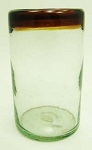 Tumbler Glass, 16 oz. Amber Rim<br>Hand blown glass from Mexico
